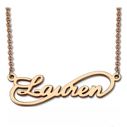 Unique Infinity Style Name Necklace In Rose Gold
