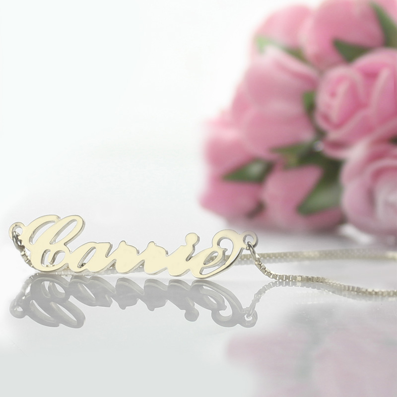 Personalized Carrie Name Necklace Silver