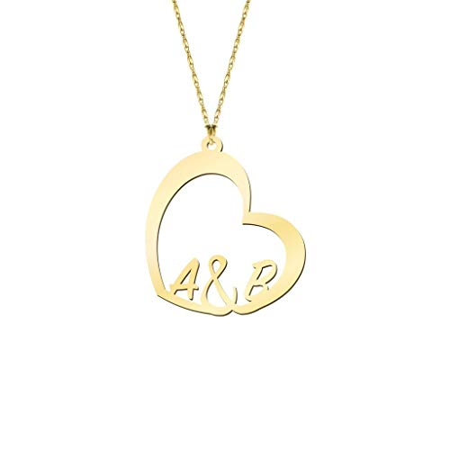 Initial Heart Necklace 18k Gold Plated