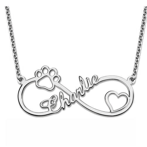 Infinity Paw Name Necklace Silver