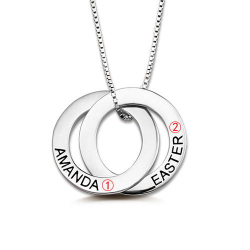 Custom Double Russian Ring Name Necklace In Sterling Silver
