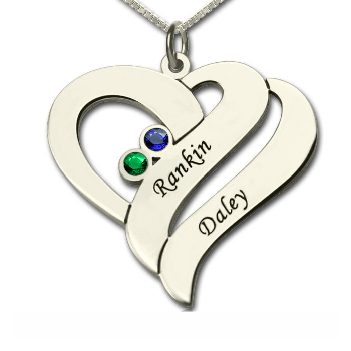 Two Hearts Forever One Necklace Sterling Silver