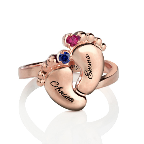 Engraved Baby Feet Birthstone Names Ring for Mom In Rose Gold