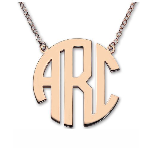 Rose Gold Initial Block Monogram Pendant