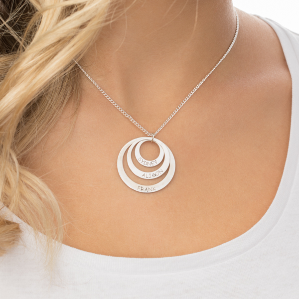 Sterling Silver Three Disc Necklace for Mothers