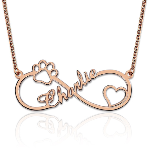 Customized Infinity Paw Print Name Necklace