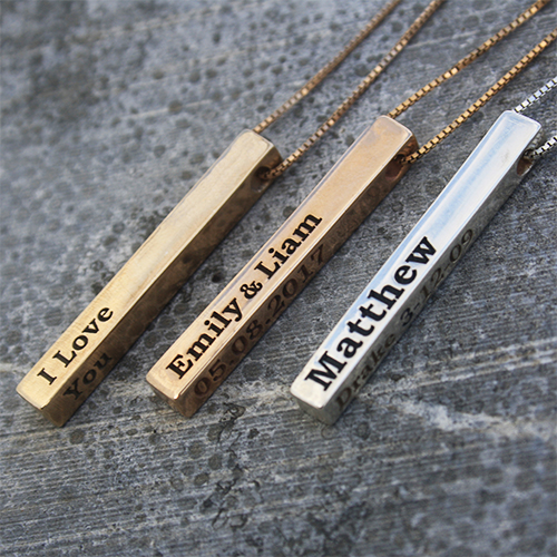 3D Engraved Bar Necklace in Silver