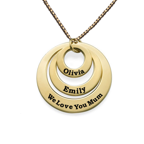 Engravable Classic Discs Necklace 18ct Gold Plated