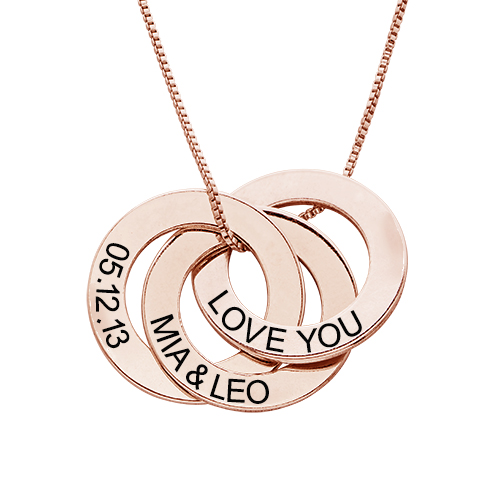 Engraved Russian Ring Necklace In Rose Gold