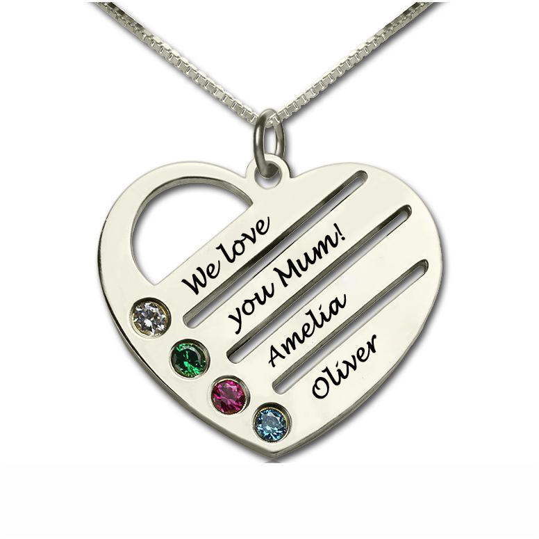 Personalised Mothers Heart Necklace