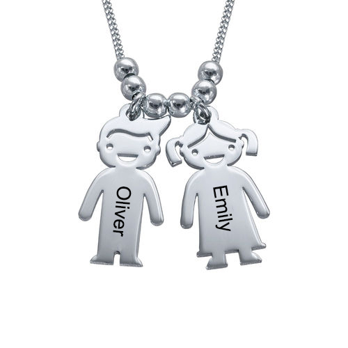 Engraved Kids Charm Necklace Sterling Silver