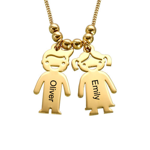 Mother's Necklace with 2-5 Children Charms 18ct Gold Plated