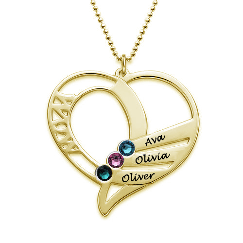 Heart Mother Birthstones Necklace Gold Plated Silver