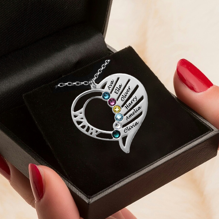 Engraved Heart Mother Birthstones Necklace