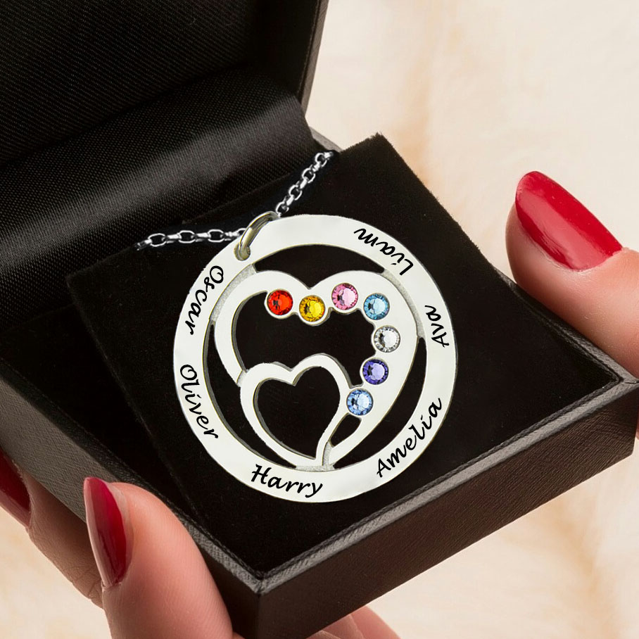 Mums Heart Necklace with Kids Names