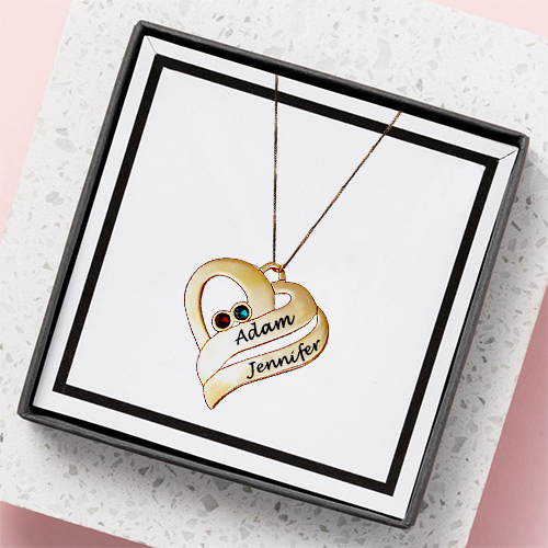 Two Hearts Necklace 18ct Gold Plated