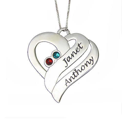Two Hearts Necklace Sterling Silver