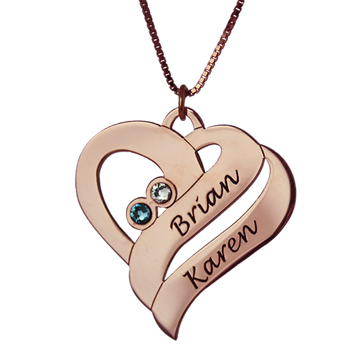 Two Hearts Necklace 18ct Rose Gold Plated