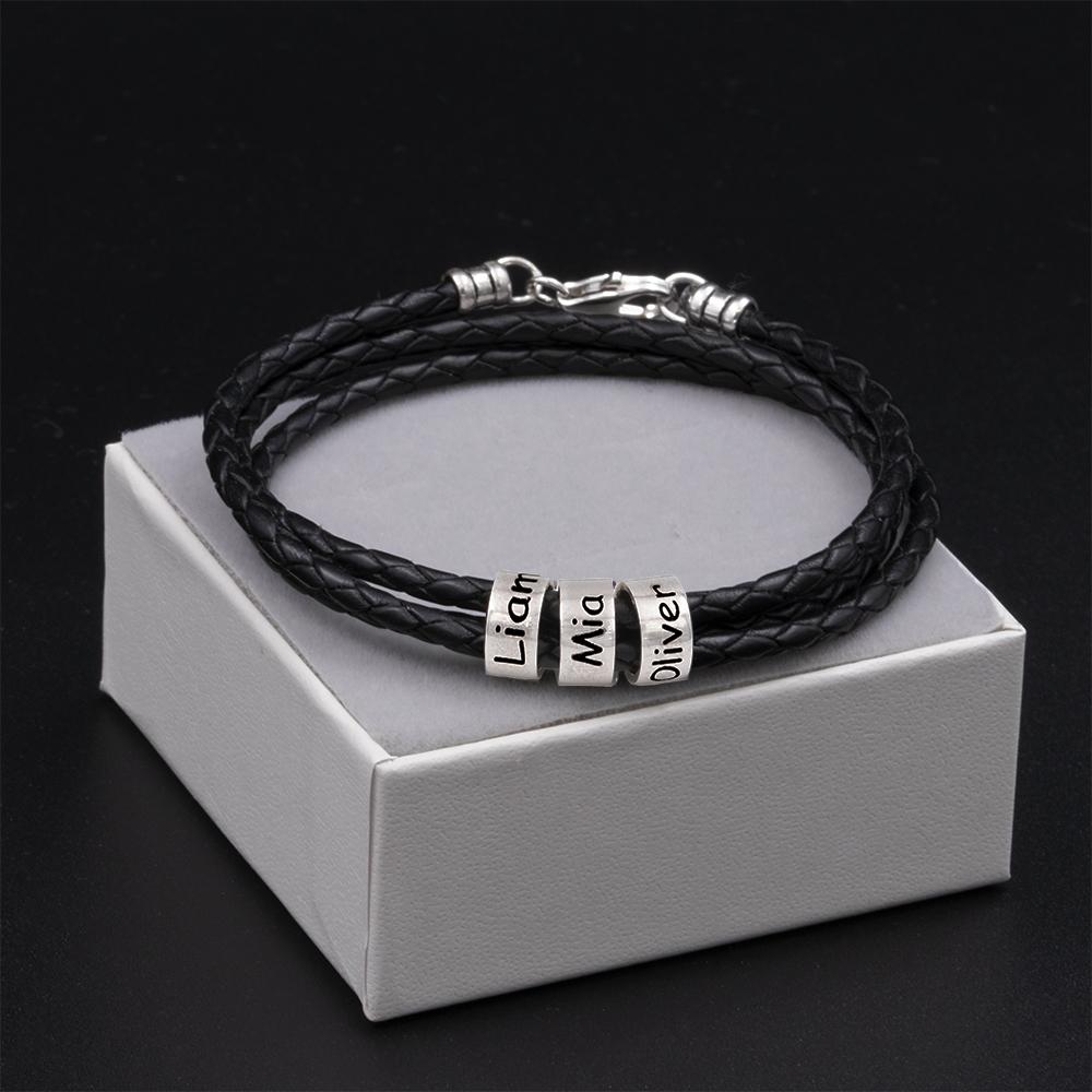 Men Braided Black Leather Bracelet